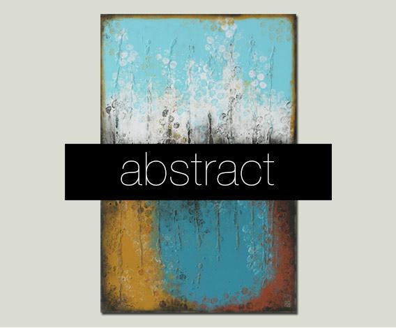 abstracte kunst blauw en geel schilderij