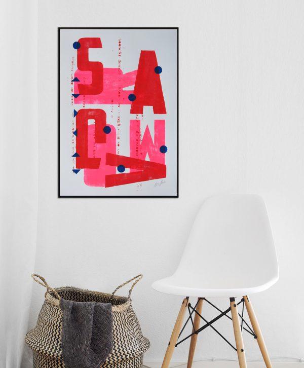 grafische kunst roze