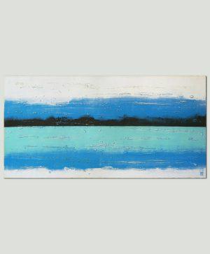 abstract blauw landschap schilderij