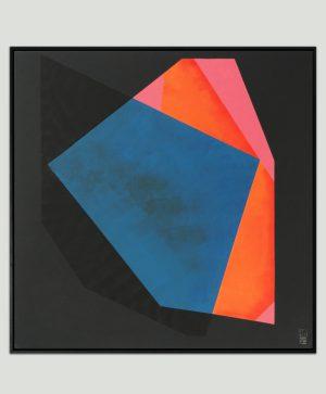 blauw geometrisch schilderij
