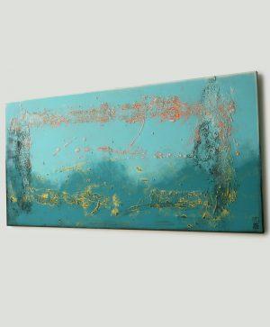 blauw landschap schilderij