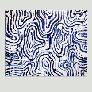 blauw wit schilderij