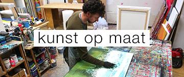 kunst op maat abstracte schilderij blauw en groen