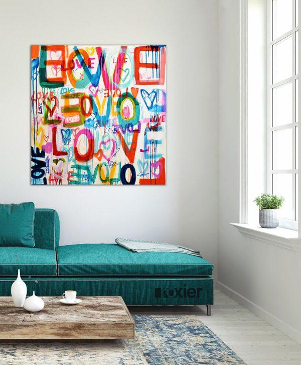 love kleurrijk schilderij