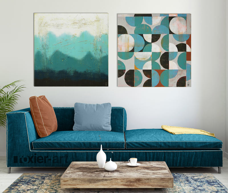 blauw tweeluik schilderij