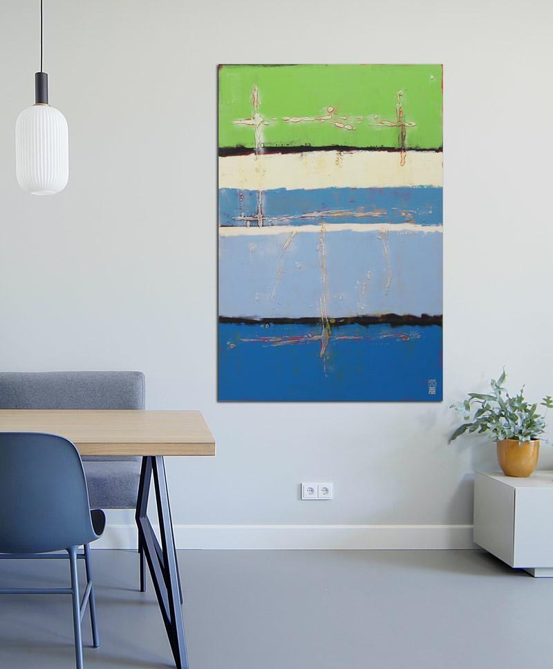 verticaal blauw schilderij
