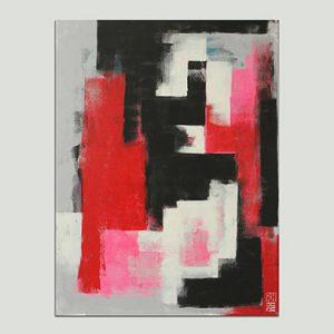 verticaal roze schilderij