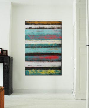 verticaal turquoise schilderij