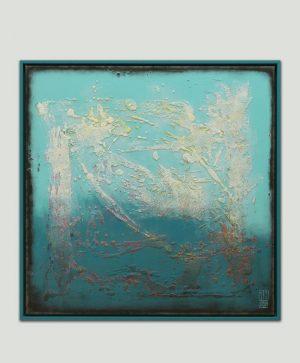 vierkant blauw schilderij
