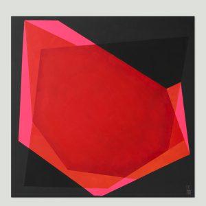 vierkant roze schilderij